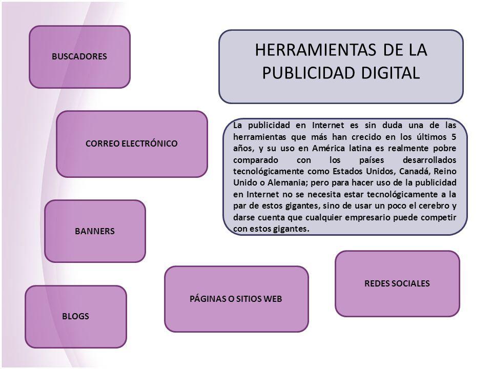 HERRAMIENTAS DE LA PUBLICIDAD DIGITAL La publicidad en Internet es sin duda una de las herramientas que más han crecido en los últimos 5 años, y su us