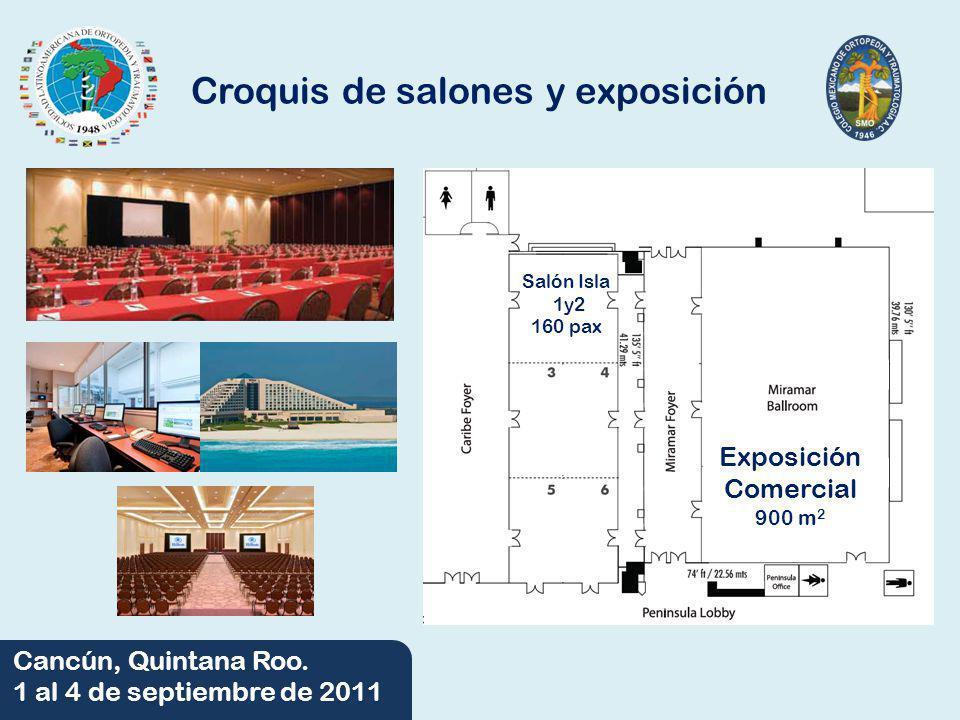06/06/2014 Cancún, Quintana Roo. 1 al 4 de septiembre de 2011 Croquis de salones y exposición Exposición Comercial 900 m 2 Salón Isla 1y2 160 pax