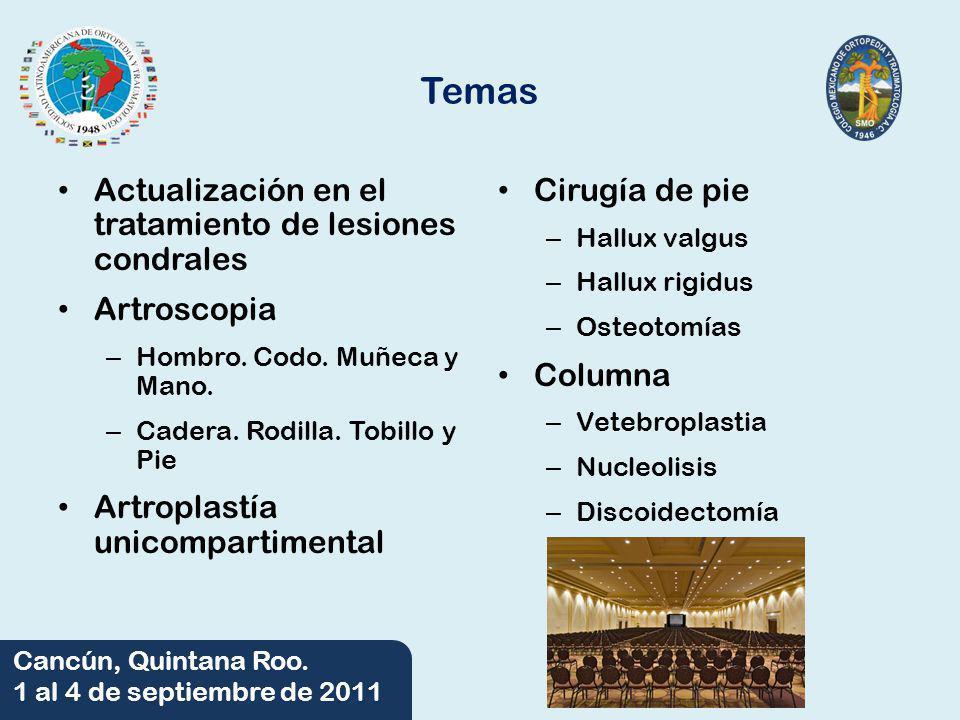 06/06/2014 Cancún, Quintana Roo. 1 al 4 de septiembre de 2011 Temas Actualización en el tratamiento de lesiones condrales Artroscopia – Hombro. Codo.