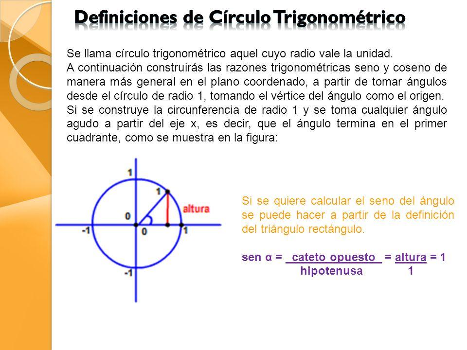 De manera general para los otros cuadrantes se va a definir el seno del ángulo como la altura (con respecto al eje x) del triángulo que tiene por lado el segmento al punto en el que acaba el ángulo sobre la circunferencia de radio 1.
