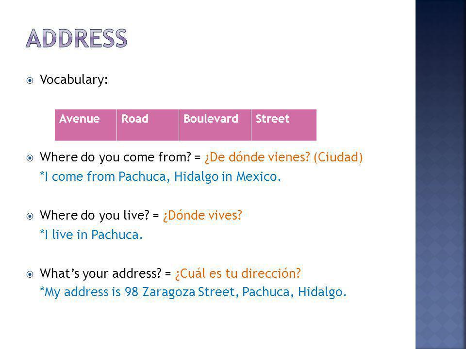 AvenueRoadBoulevardStreet Vocabulary: Where do you come from.