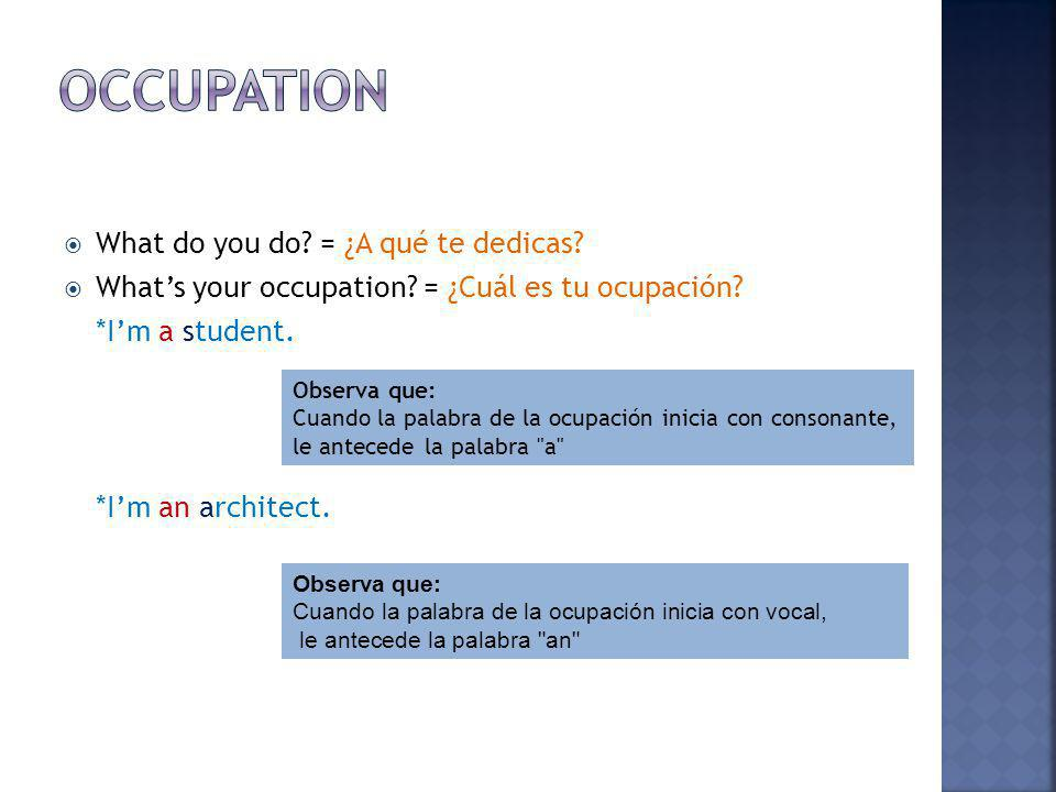 What do you do.= ¿A qué te dedicas. Whats your occupation.
