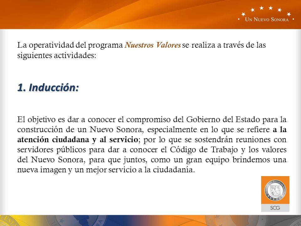 La operatividad del programa Nuestros Valores se realiza a través de las siguientes actividades: 1. Inducción: El objetivo es dar a conocer el comprom