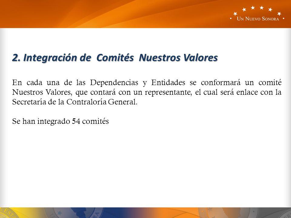 2. Integración de Comités Nuestros Valores En cada una de las Dependencias y Entidades se conformará un comité Nuestros Valores, que contará con un re
