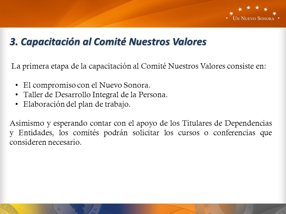 3. Capacitación al Comité Nuestros Valores La primera etapa de la capacitación al Comité Nuestros Valores consiste en: El compromiso con el Nuevo Sono