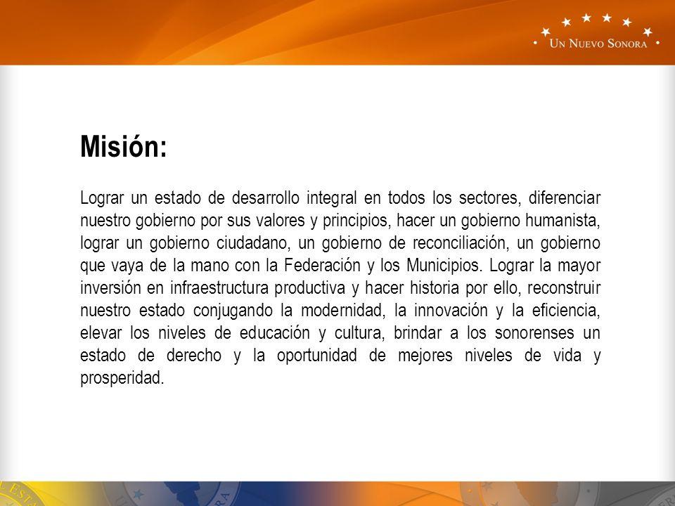 Misión: Lograr un estado de desarrollo integral en todos los sectores, diferenciar nuestro gobierno por sus valores y principios, hacer un gobierno hu