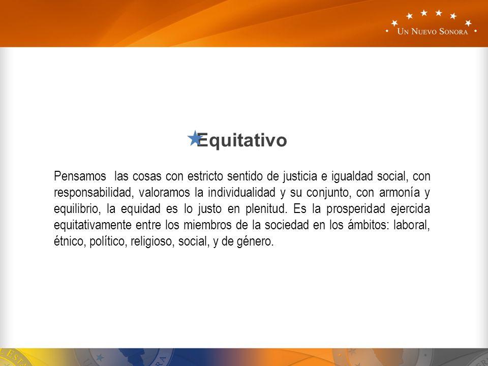 Equitativo Pensamos las cosas con estricto sentido de justicia e igualdad social, con responsabilidad, valoramos la individualidad y su conjunto, con