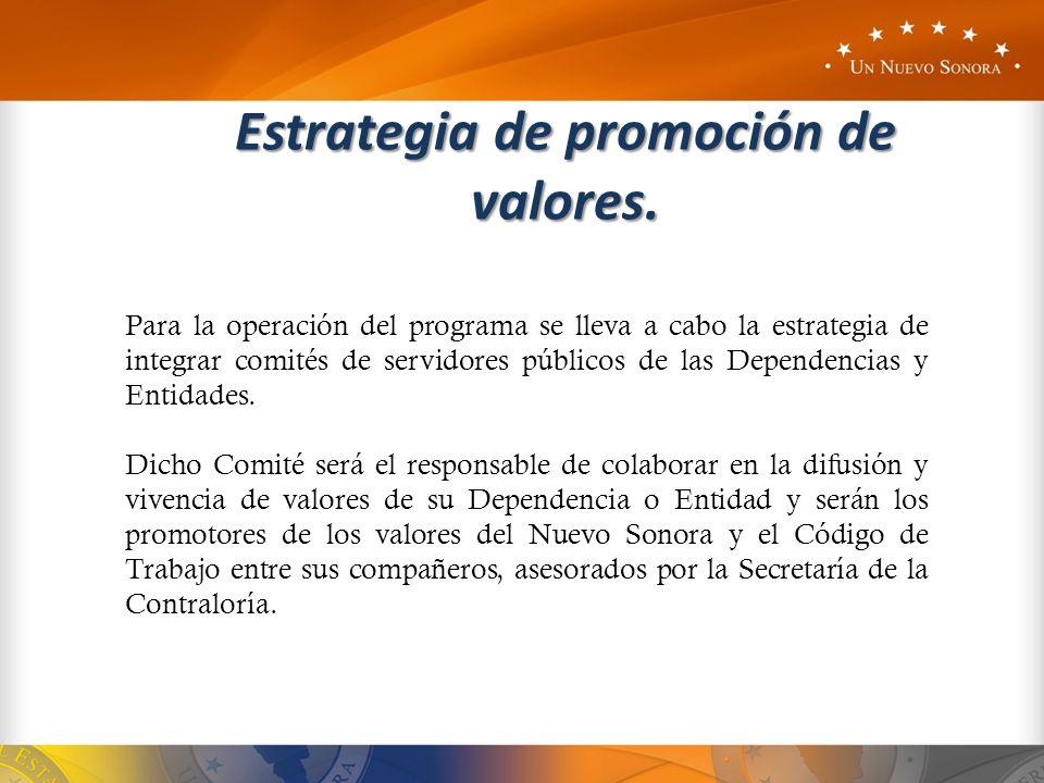 Estrategia de promoción de valores. Para la operación del programa se lleva a cabo la estrategia de integrar comités de servidores públicos de las Dep