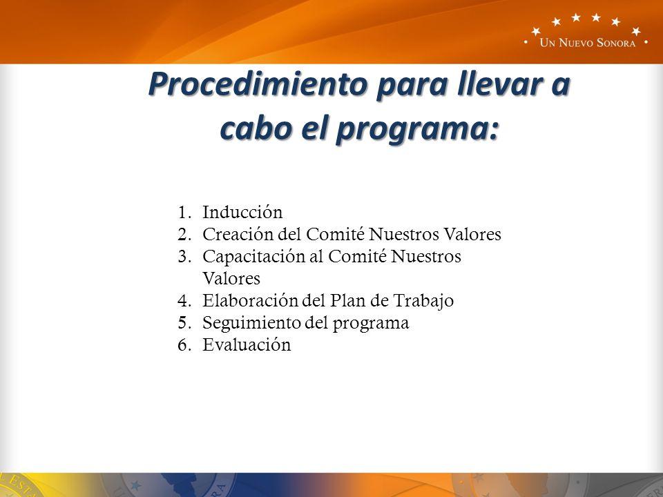 Procedimiento para llevar a cabo el programa: 1.Inducción 2.Creación del Comité Nuestros Valores 3.Capacitación al Comité Nuestros Valores 4.Elaboraci