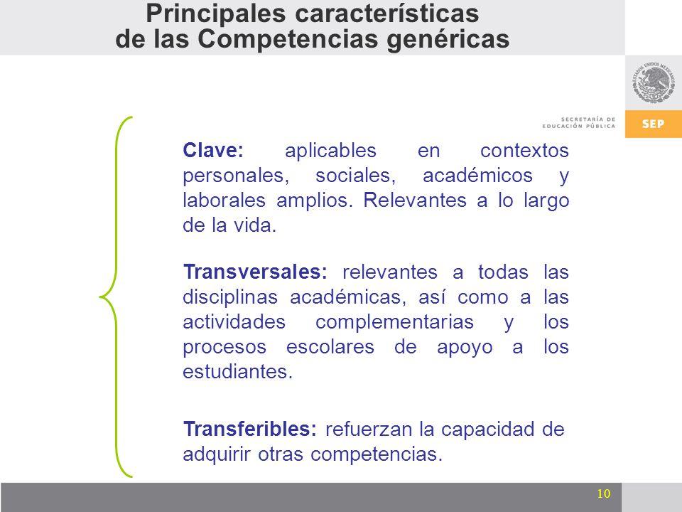 10 Clave: aplicables en contextos personales, sociales, académicos y laborales amplios. Relevantes a lo largo de la vida. Transversales: relevantes a