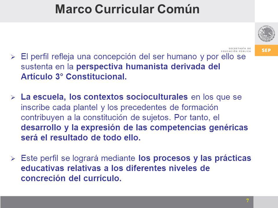 7 El perfil refleja una concepción del ser humano y por ello se sustenta en la perspectiva humanista derivada del Artículo 3° Constitucional. La escue