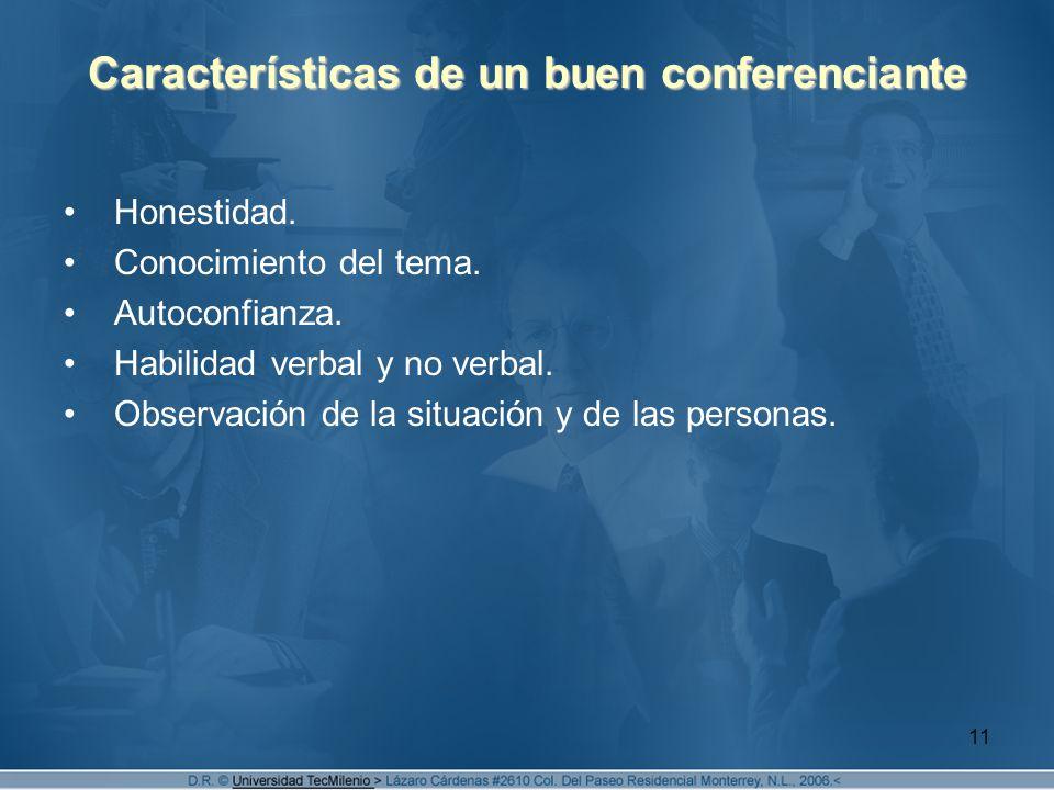11 Características de un buen conferenciante Honestidad.