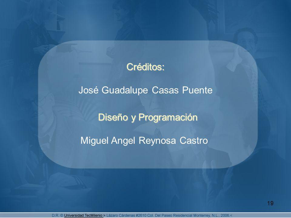 19 Créditos: Créditos: José Guadalupe Casas Puente Diseño y Programación Diseño y Programación Miguel Angel Reynosa Castro