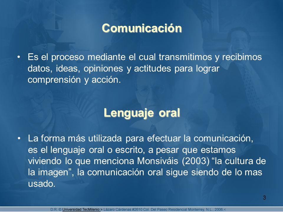 3 Comunicación Es el proceso mediante el cual transmitimos y recibimos datos, ideas, opiniones y actitudes para lograr comprensión y acción.