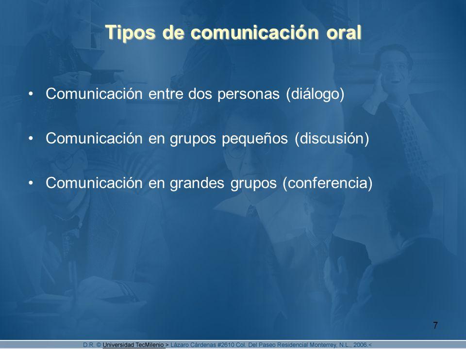 7 Tipos de comunicación oral Comunicación entre dos personas (diálogo) Comunicación en grupos pequeños (discusión) Comunicación en grandes grupos (conferencia)