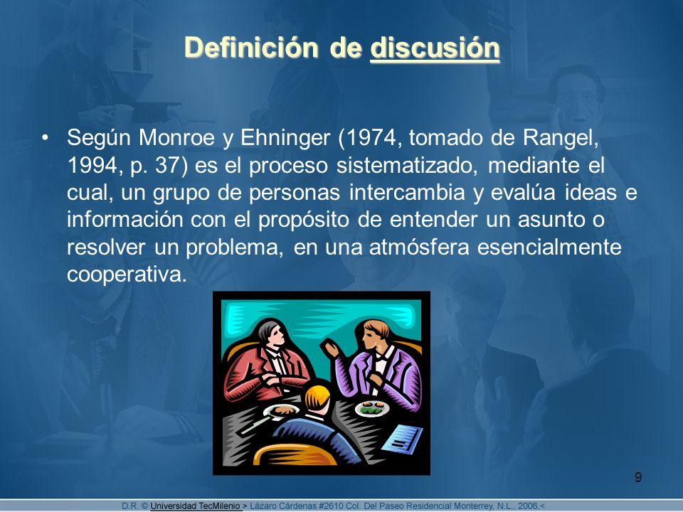 9 Definición de discusión Según Monroe y Ehninger (1974, tomado de Rangel, 1994, p.