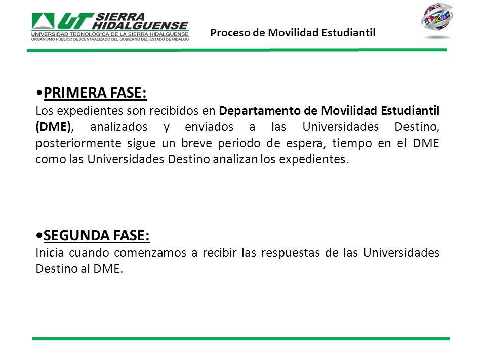PRIMERA FASE: Los expedientes son recibidos en Departamento de Movilidad Estudiantil (DME), analizados y enviados a las Universidades Destino, posteriormente sigue un breve periodo de espera, tiempo en el DME como las Universidades Destino analizan los expedientes.