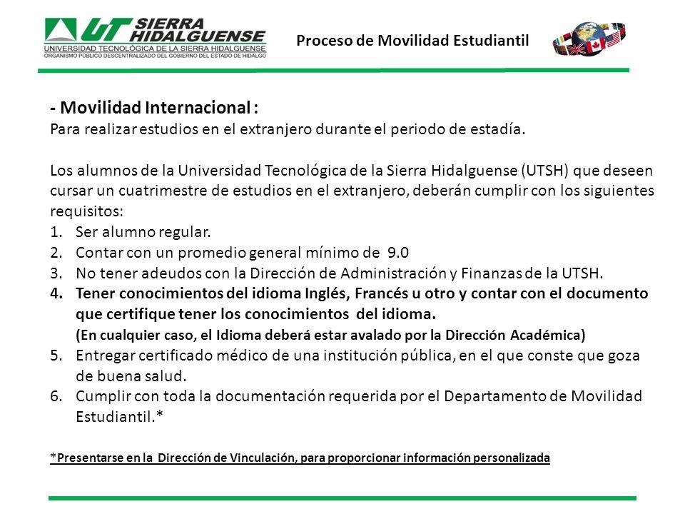 - Movilidad Internacional : Para realizar estudios en el extranjero durante el periodo de estadía.