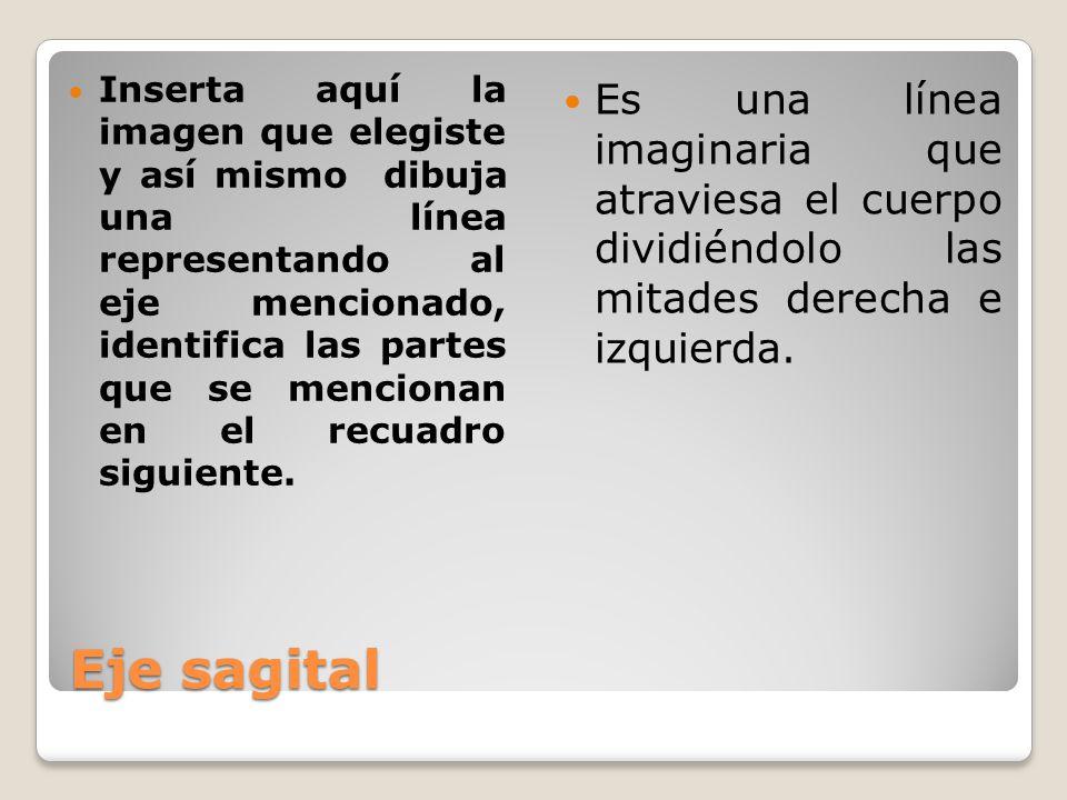 Eje sagital Es una línea imaginaria que atraviesa el cuerpo dividiéndolo las mitades derecha e izquierda.