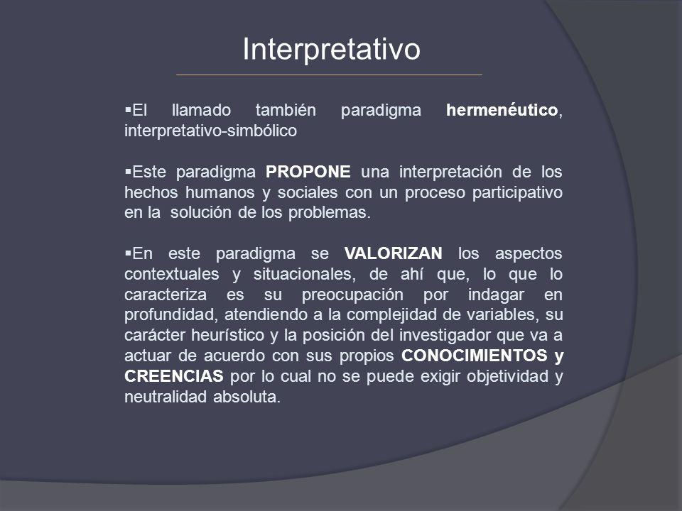 El llamado también paradigma hermenéutico, interpretativo-simbólico Este paradigma PROPONE una interpretación de los hechos humanos y sociales con un