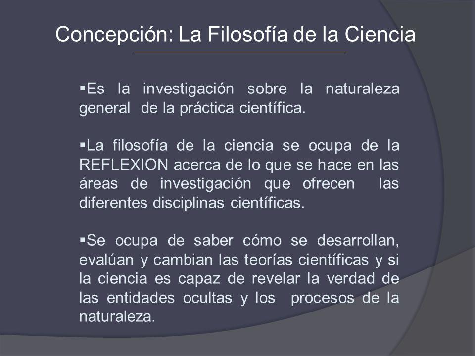 Concepción: La Filosofía de la Ciencia Es la investigación sobre la naturaleza general de la práctica científica. La filosofía de la ciencia se ocupa