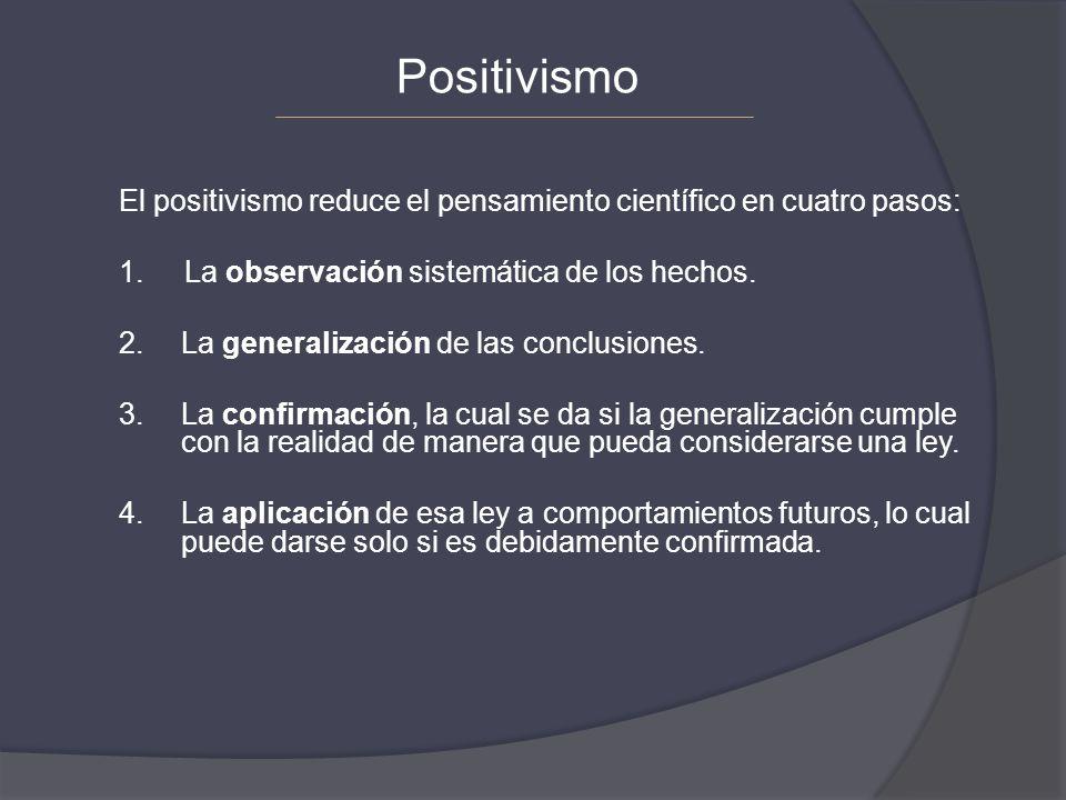 El positivismo reduce el pensamiento científico en cuatro pasos: 1. La observación sistemática de los hechos. 2.La generalización de las conclusiones.
