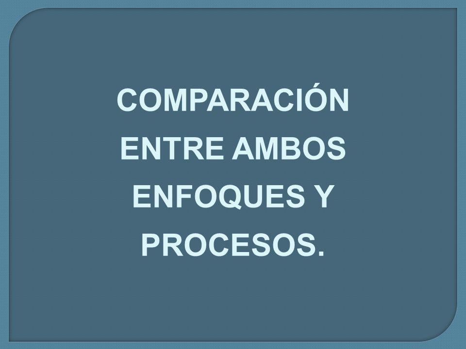 COMPARACIÓN ENTRE AMBOS ENFOQUES Y PROCESOS.