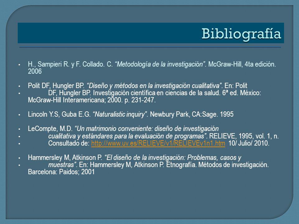 H., Sampieri R. y F. Collado. C. Metodología de la investigación. McGraw-Hill, 4ta edición. 2006 Polit DF, Hungler BP. Diseño y métodos en la investig