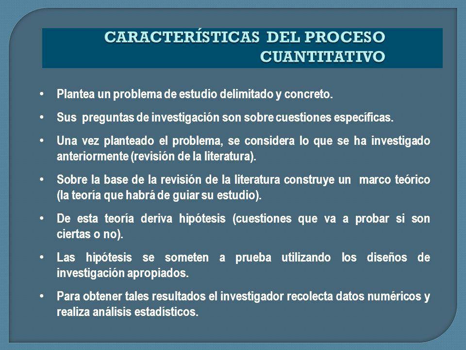 Usa la recolección y el análisis de datos para contestar preguntas de investigación y probar hipótesis establecidas previamente.