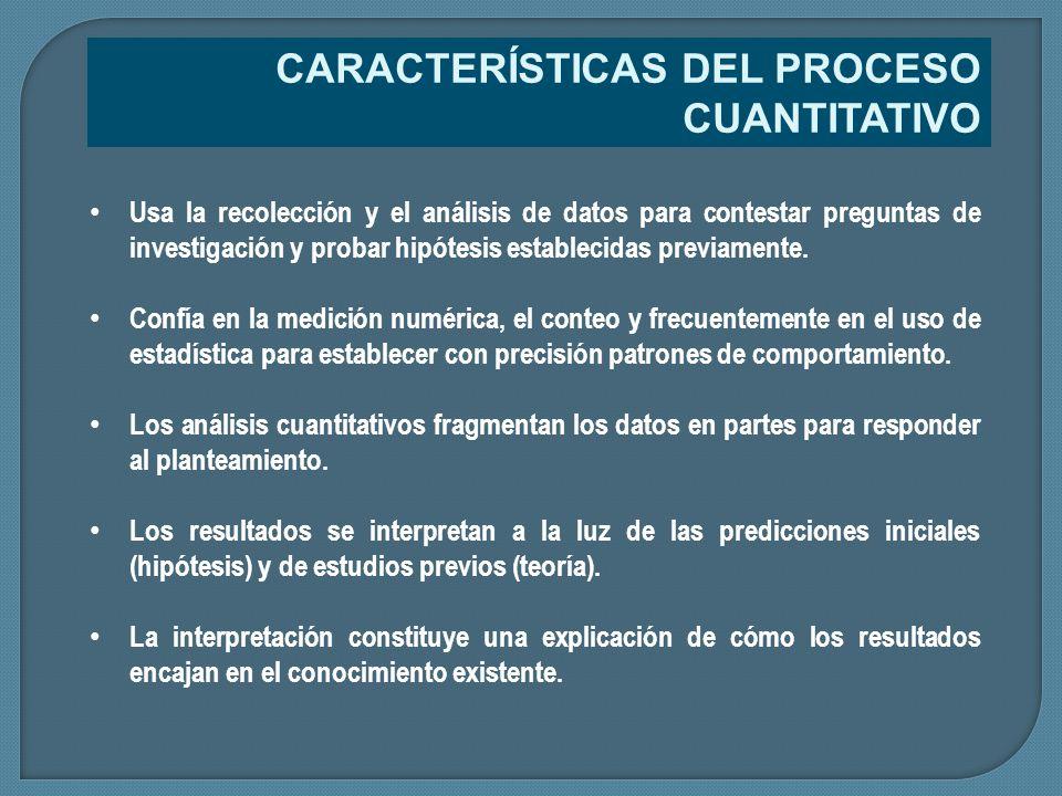 Usa la recolección y el análisis de datos para contestar preguntas de investigación y probar hipótesis establecidas previamente. Confía en la medición