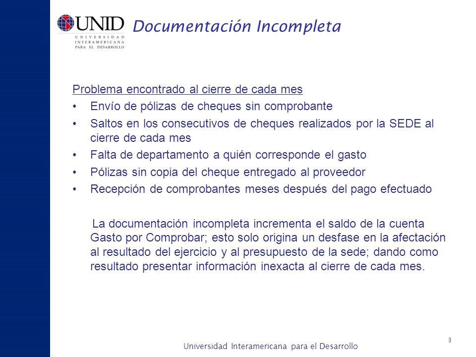Universidad Interamericana para el Desarrollo A c a d é m i c a y P l a n e a c i ó n Documentación Incompleta Problema encontrado al cierre de cada m