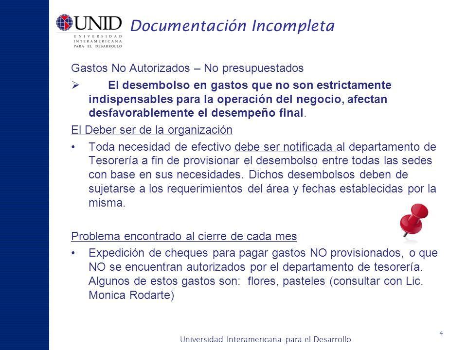 Universidad Interamericana para el Desarrollo A c a d é m i c a y P l a n e a c i ó n Documentación Incompleta Gastos No Autorizados – No presupuestad