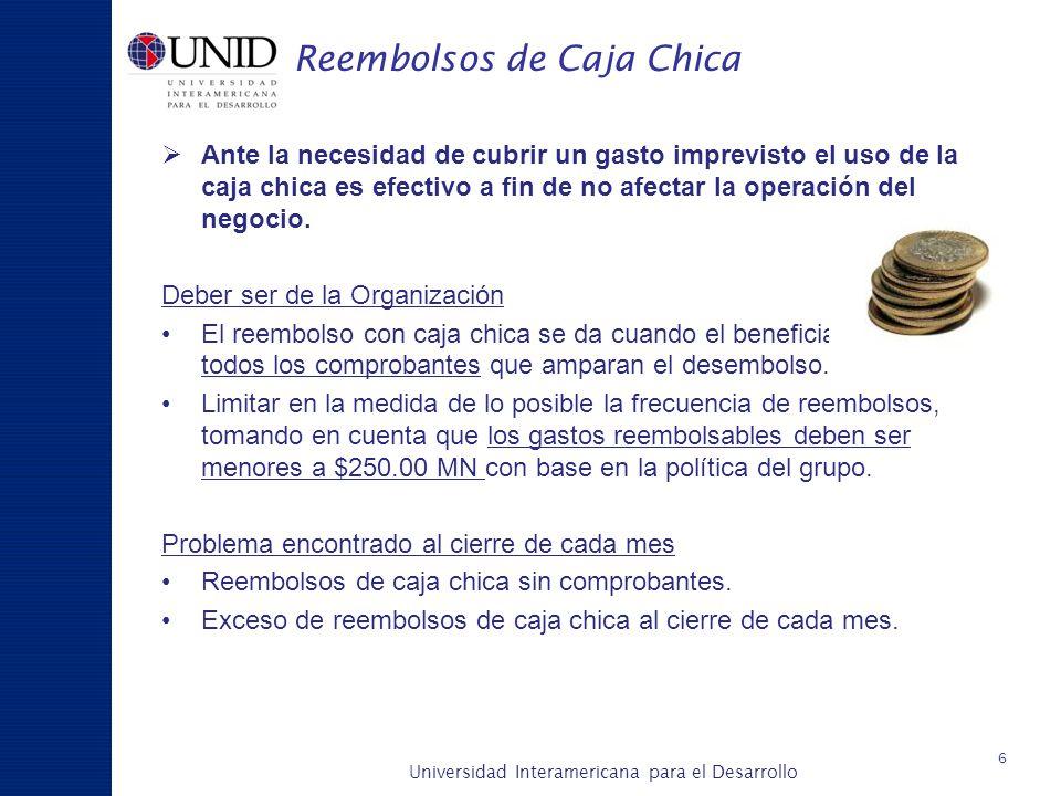Universidad Interamericana para el Desarrollo A c a d é m i c a y P l a n e a c i ó n Reembolsos de Caja Chica Ante la necesidad de cubrir un gasto im