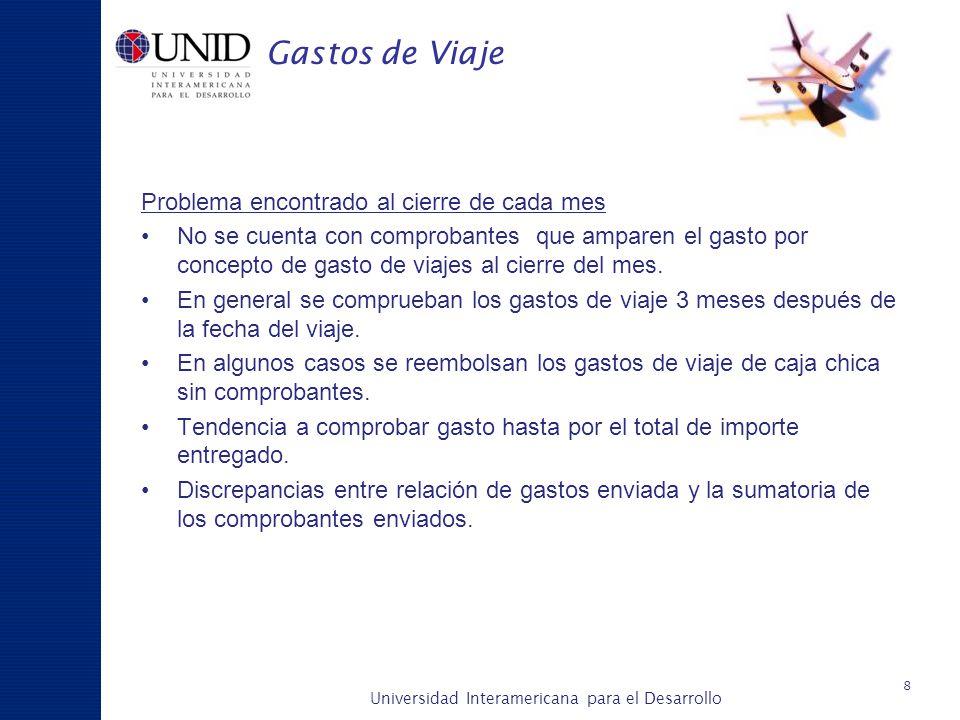 Universidad Interamericana para el Desarrollo A c a d é m i c a y P l a n e a c i ó n Gastos de Viaje Problema encontrado al cierre de cada mes No se