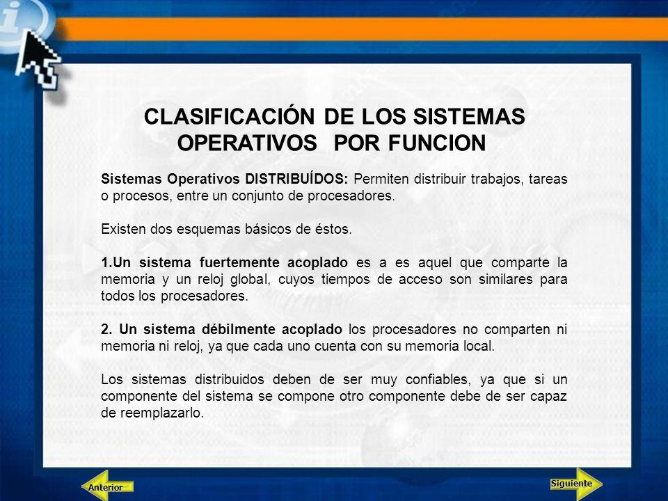 Siguiente Anterior CLASIFICACIÓN DE LOS SISTEMAS OPERATIVOS POR FUNCION Sistemas Operativos DISTRIBUÍDOS: Permiten distribuir trabajos, tareas o proce