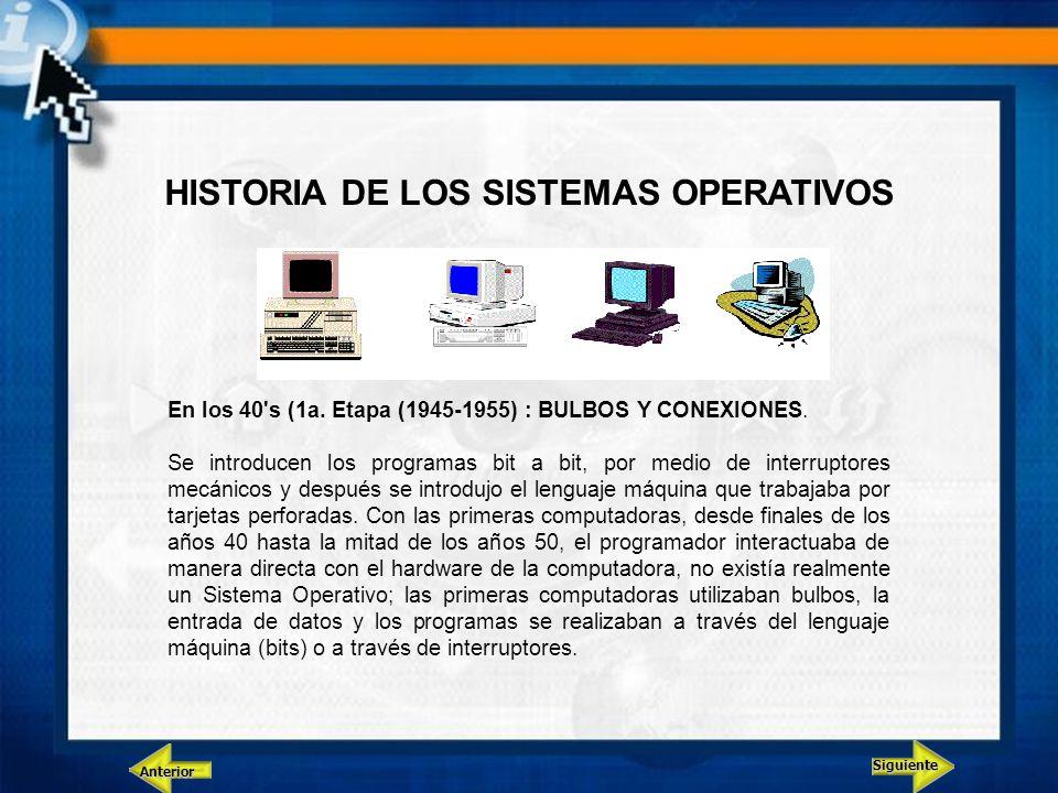 Siguiente Anterior HISTORIA DE LOS SISTEMAS OPERATIVOS En los 40's (1a. Etapa (1945-1955) : BULBOS Y CONEXIONES. Se introducen los programas bit a bit