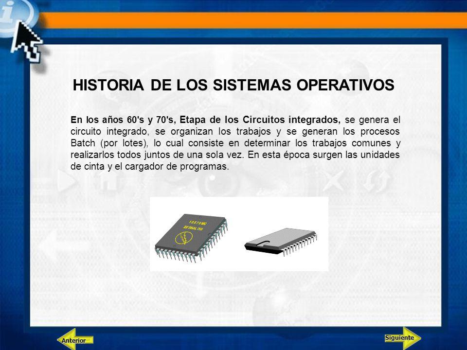 Siguiente Anterior HISTORIA DE LOS SISTEMAS OPERATIVOS En los años 60's y 70's, Etapa de los Circuitos integrados, se genera el circuito integrado, se