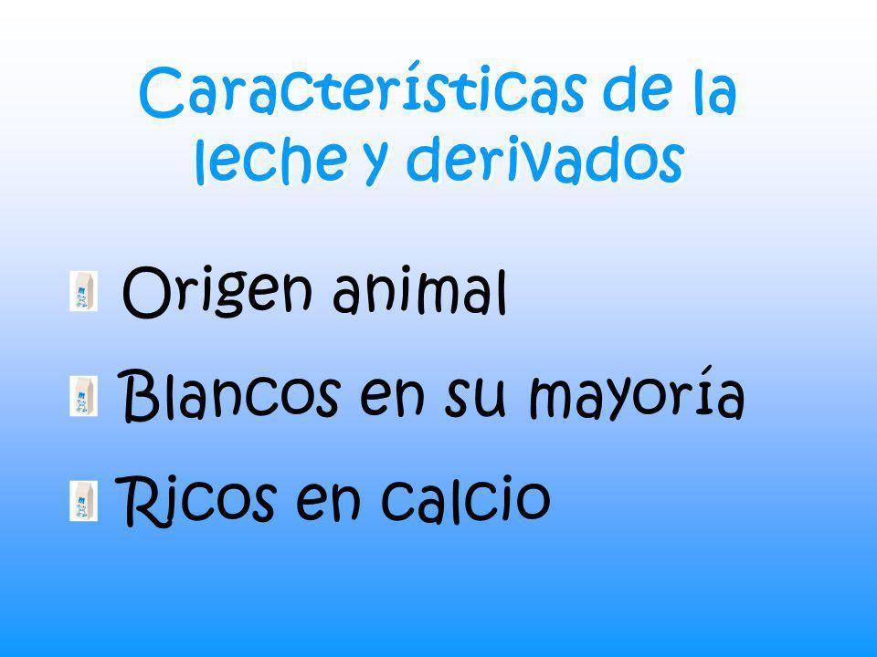 Características de la leche y derivados Origen animal Blancos en su mayoría Ricos en calcio