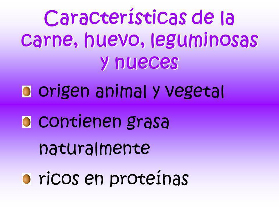 Características de la carne, huevo, leguminosas y nueces origen animal y vegetal contienen grasa naturalmente ricos en proteínas