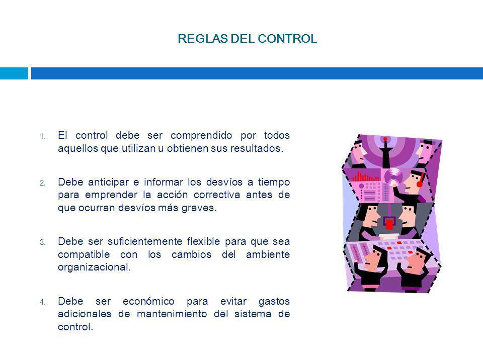 REGLAS DEL CONTROL 1. El control debe ser comprendido por todos aquellos que utilizan u obtienen sus resultados. 2. Debe anticipar e informar los desv