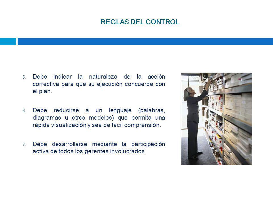 REGLAS DEL CONTROL 5. Debe indicar la naturaleza de la acción correctiva para que su ejecución concuerde con el plan. 6. Debe reducirse a un lenguaje