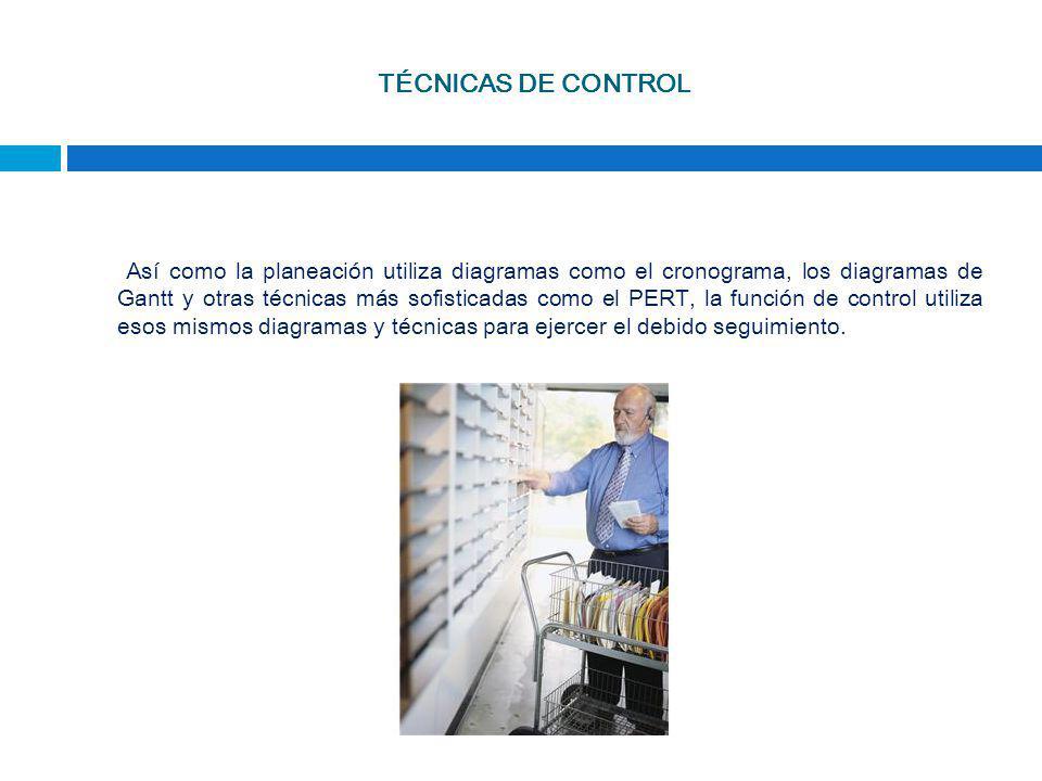 TÉCNICAS DE CONTROL Así como la planeación utiliza diagramas como el cronograma, los diagramas de Gantt y otras técnicas más sofisticadas como el PERT