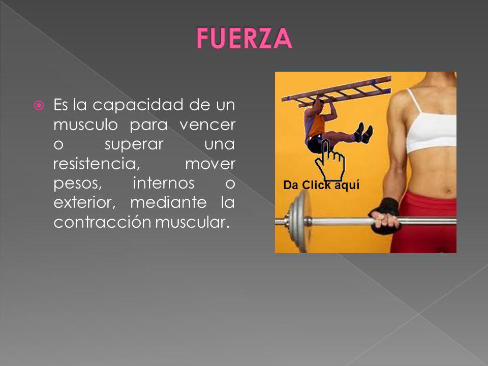 Es la capacidad de un musculo para vencer o superar una resistencia, mover pesos, internos o exterior, mediante la contracción muscular. Da Click aquí
