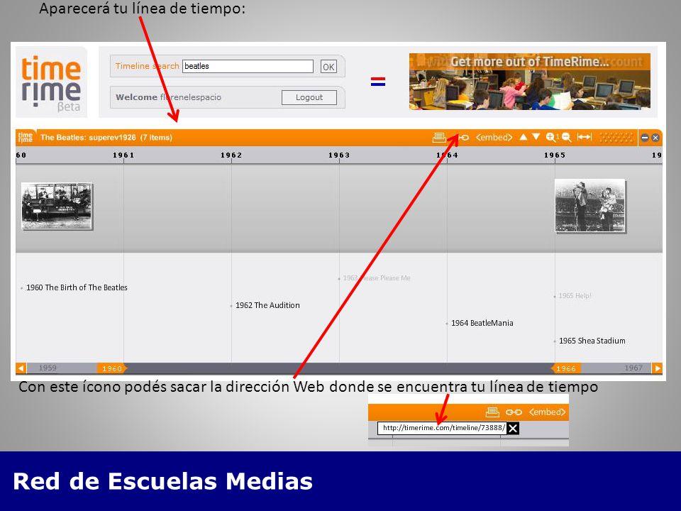 Red de Escuelas Medias Aparecerá tu línea de tiempo: Con este ícono podés sacar la dirección Web donde se encuentra tu línea de tiempo