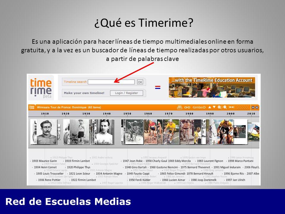 Red de Escuelas Medias Es una aplicación para hacer líneas de tiempo multimediales online en forma gratuita, y a la vez es un buscador de líneas de tiempo realizadas por otros usuarios, a partir de palabras clave ¿Qué es Timerime