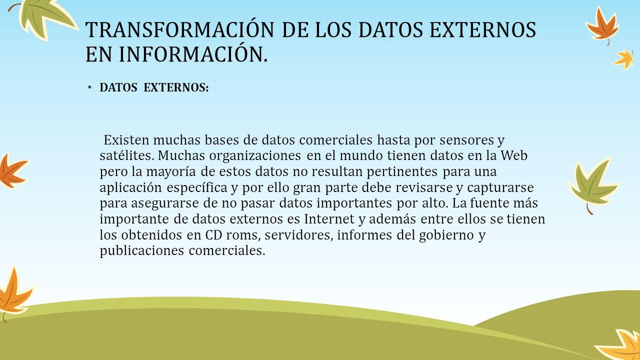 TRANSFORMACIÓN DE LOS DATOS EXTERNOS EN INFORMACIÓN. DATOS EXTERNOS: Existen muchas bases de datos comerciales hasta por sensores y satélites. Muchas