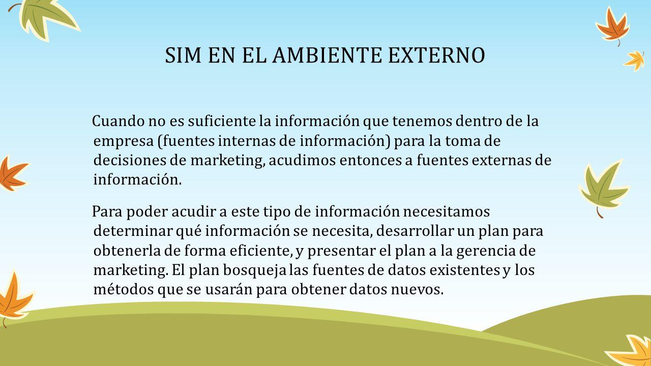 SIM EN EL AMBIENTE EXTERNO Cuando no es suficiente la información que tenemos dentro de la empresa (fuentes internas de información) para la toma de d