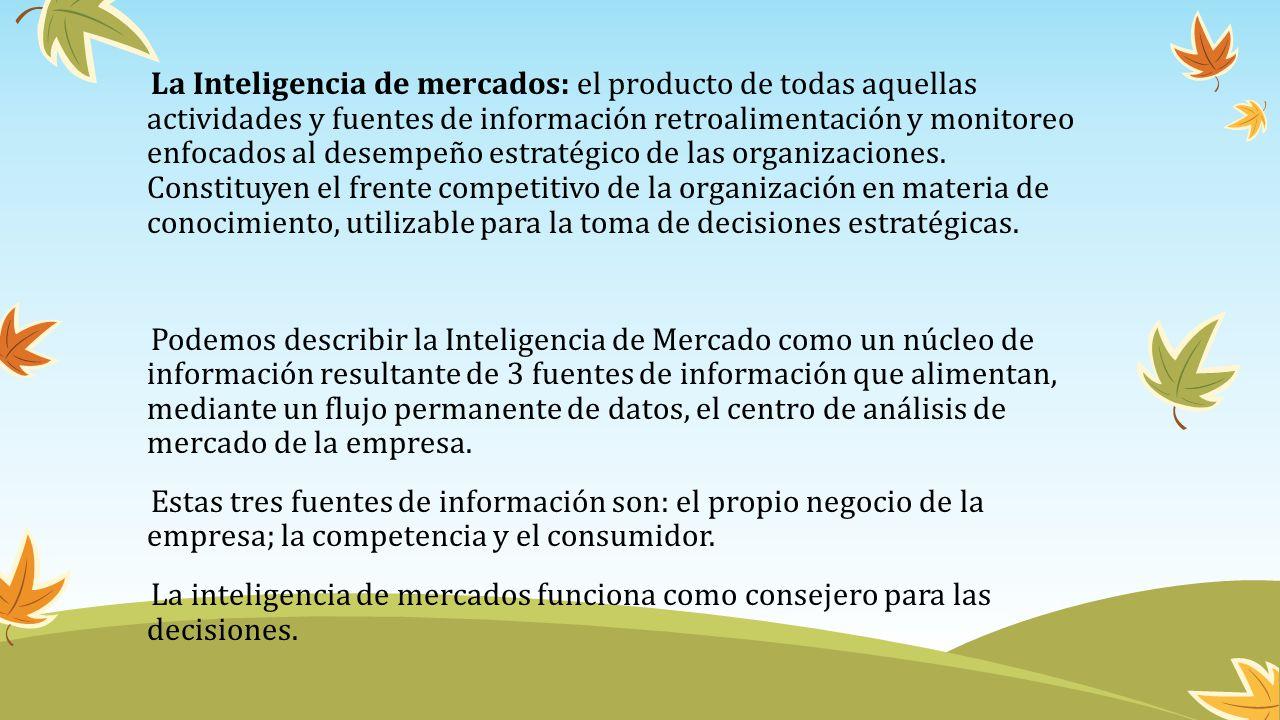 La Inteligencia de mercados: el producto de todas aquellas actividades y fuentes de información retroalimentación y monitoreo enfocados al desempeño e