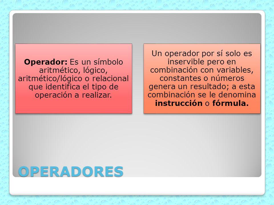 OPERADORES Operador: Es un símbolo aritmético, lógico, aritmético/lógico o relacional que identifica el tipo de operación a realizar. Un operador por