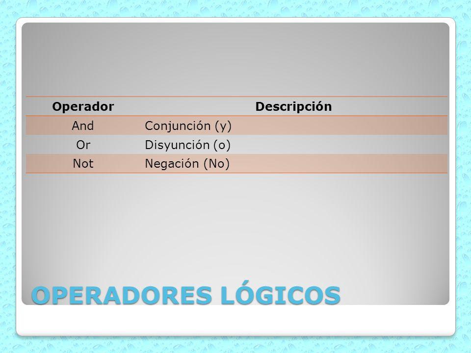 OPERADORES LÓGICOS OperadorDescripción AndConjunción (y) OrDisyunción (o) NotNegación (No)